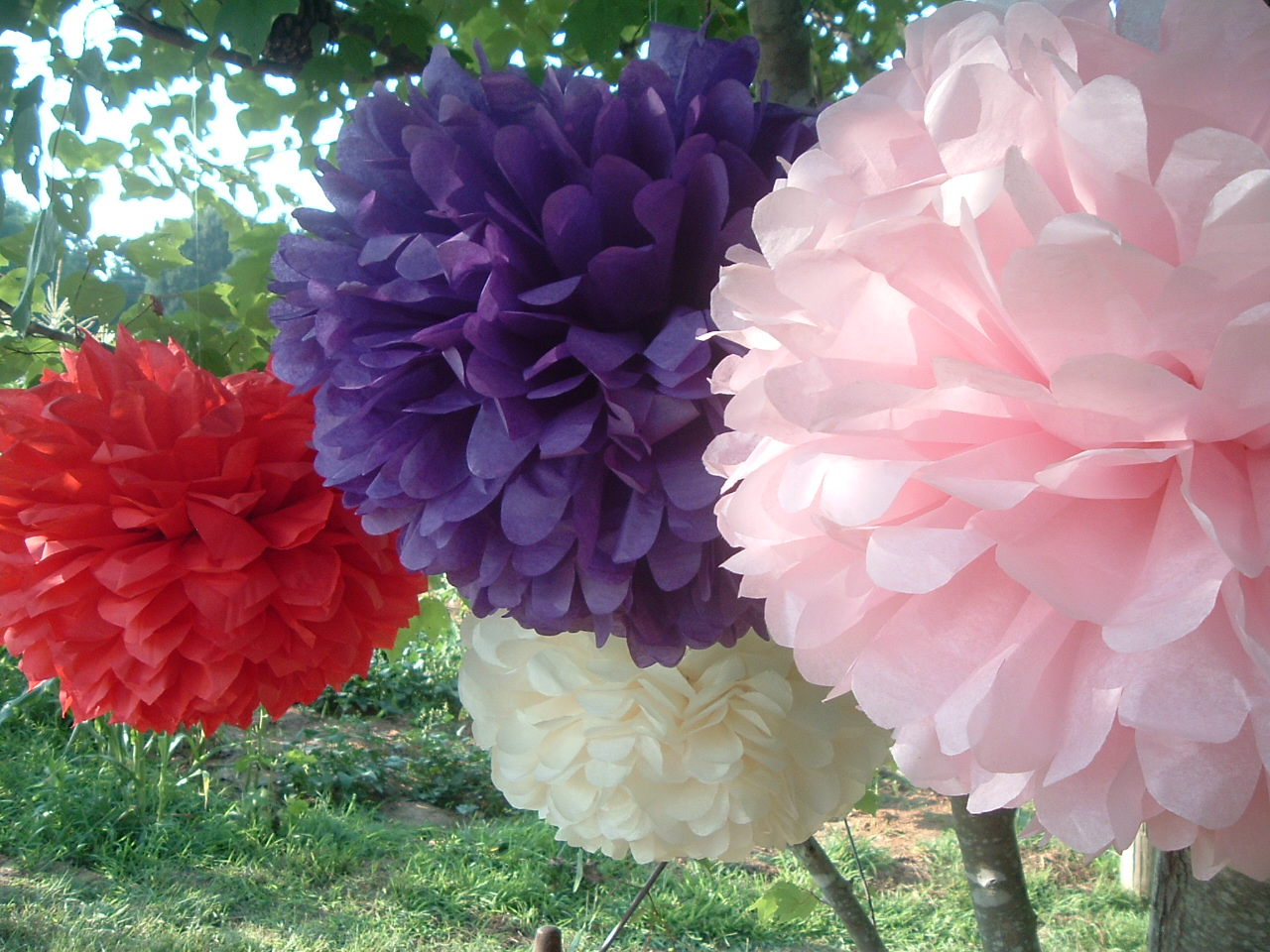 party decorations 3 tissue paper pom poms choose your colors